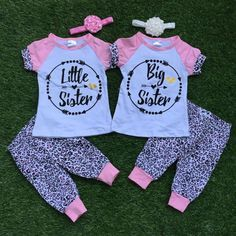 """Cheap clothes baby girl, Buy Quality summer outfit directly from China clothes baby Suppliers: summer outfits """"little big sister"""" clothes baby girls cotton arrow pink Leopard capris short sleeve clothing with accessories Big Sister Outfits, Big Sister T Shirt, Best Friend Outfits, Girls Summer Outfits, Summer Girls, Kids Outfits, Swag Outfits, Twin Baby Girls, Twin Babies"""