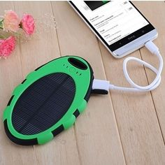 Charge your device while relaxing in the sun with the Water Resistant Portable Solar Charger. Simply plug your device into the USB port for easy charging.  Includes a hook to attach to your key-chain, backpack or purse for easy storage.