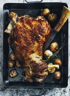 slow cooked lamb with garlic and rosemary.  donna hay magazine