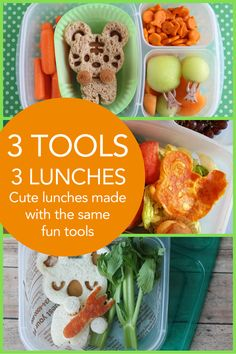 3 Tools, 3 Lunches -- lunch bloggers use EasyLunchboxes, Cuddle Palz, and little animal picks to make fun bento box lunches