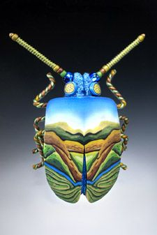 Hand-modeled polymer clay bug jewelry by Joyce Fritz Studio / Yipes! American Made. 2013 Buyers Market of American Craft.
