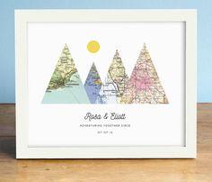 Abenteuer zusammen drucken 4 Karte Mountain Print