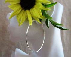 Sterling Silver Extra Large Plain Hoop by Wisteriaearrings on Etsy