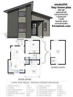 studio500: modern tiny house plan | 61custom                                                                                                                                                                                 More