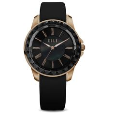 Radiant Time Collection; Watch, IP Rose Gold and Black Case with Sunray Dial and Black Satin Leather Strap