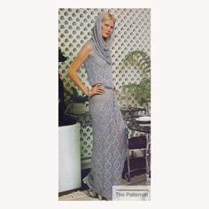 Vintage Crochet Pattern for Gown w Cowl Funnel Neck Hood - Lace Maxi Dress Crochet Pattern PDF Downl Vintage Crochet Dresses, Vintage Crochet Patterns, Special Dresses, Special Occasion Dresses, Silver Evening Gowns, Crochet Vest Pattern, Crochet Hooks, Lace Maxi, Funnel Neck