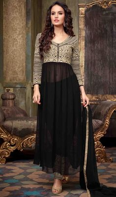 Amazing lovely look with new fashionable black georgette Anarkali pant style suit. This attractive dress is displaying some extraordinary embroidery done with resham and stones work. #HotBlackLawWaistTransparentAnarkaliSuit