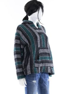 Baja Surf Poncho  Vintage 90s Mexican Hoodie Sweater Unisex Size Small