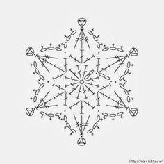 Crochet snowflake chart pattern by yunnara – Snowflakes World Crochet Snowflake Pattern, Crochet Stars, Christmas Crochet Patterns, Crochet Snowflakes, Thread Crochet, Christmas Knitting, Crochet Diagram, Crochet Motif, Crochet Doilies