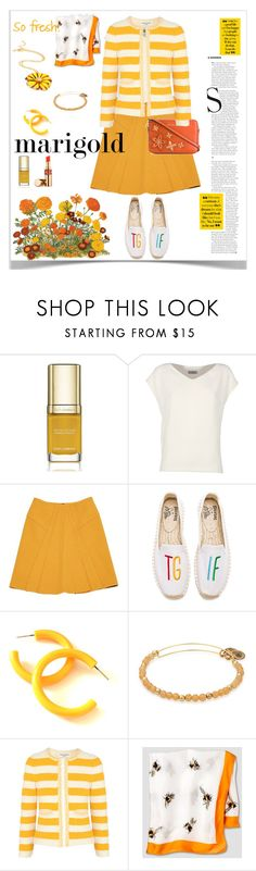 """Dressing in Marigold"" by ellie366 ❤ liked on Polyvore featuring Dolce&Gabbana, Alberto Biani, Roland Mouret, Soludos, Sonia Rykiel, Victoria Beckham, MICHAEL Michael Kors, GetTheLook, stripes and slippers"