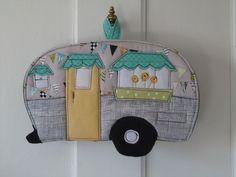 2012 Camping Potholder Series, Vintage Canned Ham Camper Trailer. $16.00, via Etsy.