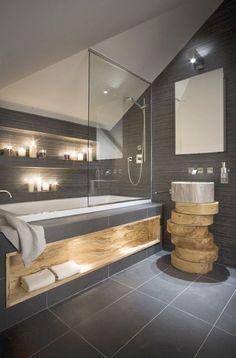Contemporary residential interior design dark bathroom I M Lab-The Country Home