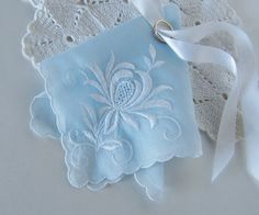 Something Blue Wedding Hanky, Bridal Shower Gift, 1950's Vintage Handkerchief