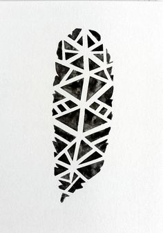 Original Tribal Geometric Black Feather Watercolor by prettyinc