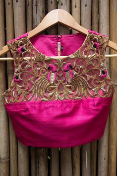 Saree blouse with cut-work design. Indian fashion.