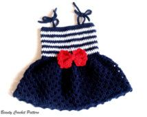 Crochet Pattern Baby Sailor Dress, Baby Sailor Outfit, Baby Dress Pattern…