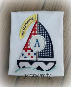 Monogram Sailboat Embroidery Applique Design by justsewpretty, $4.00