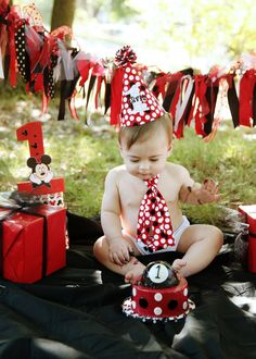 PERSONALIZED Baby Boy First Birthday Cake Smash Set with Hat, Tie and Diaper Cover from Sprinkles of Love  Remix Dots on Red on Etsy, $43.00