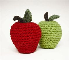 """Fruit Basket Apple: """"Keep your fruit basket full and bright all year long with crocheted fruit!"""""""