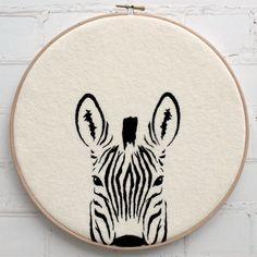 Hello Zebra! Modern embroidery kit from Bustle & Sew | embroidery pattern | modern embroidery | craft kit | zebra decor | monochrome |