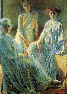 Boccioni, Tre donne, 1909-1910. Milan, Gallerie d'Italia. The protagonist of the composition is light, probably designed to supplement the figures with the environment, in a relationship that tends mostly to the interpenetration of figures and things. The light has the three characters (mother, sister Ines and perhaps, the woman with whom the artist had at that time a report) in an almost suspended, until they appear materialized only because of the light values.