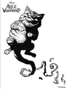 Tim Burton's Alice in Wonderland coloring page.