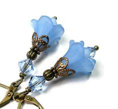 Blue Flower Earrings with Vintaj Brass from jewelrybyNaLa on Etsy ... https://www.etsy.com/listing/173349955/blue-flower-earrings-vintaj-brass #Vintaj brass #Swarovski crystal