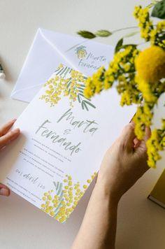 Invitaciones Mimosas | Una de nuestras invitaciones campestres con flores