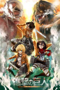 Attack on titan: Eren Jaeger, Mikasa Ackerman & Armin Arlet.