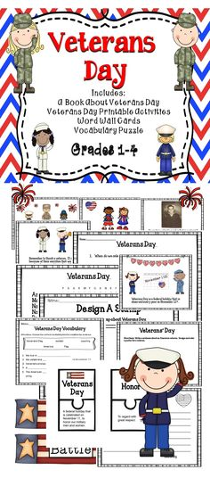 Veterans Day - A Great Collection Of Engaging Veterans Day Activities. This Veterans Day Resource Includes Reading Comprehension And Writing Activities For The Classroom. Educational Activities, Book Activities, Classroom Activities, First Grade, Second Grade, Grade 2, Fourth Grade, Teaching Materials, Teaching Resources