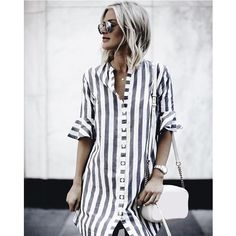 4e2843923dd189 Women Casual Striped Flare Half-sleeved Loose Dresses