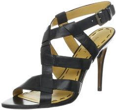 $89, Black Leather Heeled Sandals: Nine West Amerande Sandal. Sold by Amazon.com. Click for more info: https://lookastic.com/women/shop_items/29333/redirect