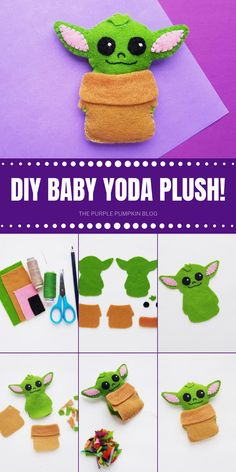 You can make your own DIY Baby Yoda plush with this awesome tutorial! This craft is fun and simple and you end up with your very own cute mini felt Baby Yoda. So grab the free printable template, grab some felt fabric and start stitching! Felt Patterns Free, Felt Crafts Patterns, Fabric Crafts, Felt Crafts Kids, Baby Crafts, Cute Crafts, Crafts With Felt, Simple Crafts, Cool Diy