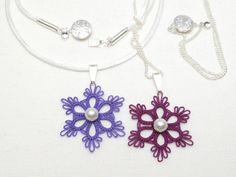 Flair...flirty and fun. This flower pendant is a nice touch to make you feel pretty everyday. Shuttle-tatted with 100% Egyptian cotton tatting