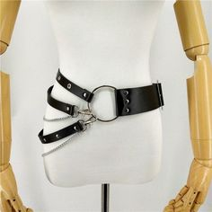 UYEE New Sexy Leather Punk Harajuku Big O-ring Belt Exaggerated Big Metal Ring Metal Hoop Women Belt For Jeans Chain - harajuku Wide Leather Belt, Leather Collar, Leather Belts, Leather Ring, Metal Belt, Metal Chain, Black Leather, Harajuku, Fashion Belts