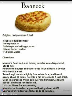 "Bannock recipe - The instructions should be more like ""throw into bag. Put on stick. But whatever. Bannock Bread, Viking Food, Pan Frito, Bread Recipes, Cooking Recipes, Scottish Recipes, Scottish Dishes, Bannock Recipe Fried, Cake"