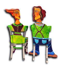 Bemalte Stühle von Jeanett Rotter.