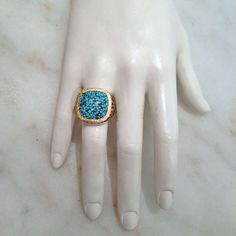 Kingman Mine Turquoise and Black Diamond 22k Gold Ring image 3