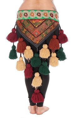Tribal Tassel Belt with Embroidered Designs & Shisha Mirrors - EARTH TONES-Add the finishing touch to your ATS / tribal costume with this gorgeous embroidered pom-pom tassel belt. Multiple earth-tone colors make it versatile to match many costumes. Tribal Fusion, Don Papa, Earth Tone Colors, Earth Tones, Tribal Costume, Tribal Outfit, Belly Dance Belt, Belly Dancing Classes, Fairy Makeup