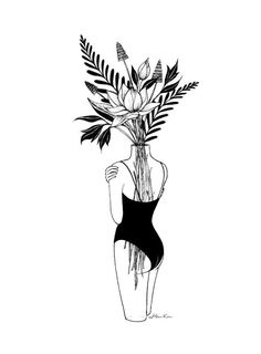 Henn Kimm Fragile Art Print Urban Outfitters - Uo Exclusive Art Print By Henn Kim Featuring A Graphic Tonal Illustration With A Delicate Feminine Look Printed On Archival Paper Made From Cotton Pressed In Italian Mills This High Quality Art Pr Tatoo Art, Tattoo Drawings, Art Drawings, Art And Illustration, Illustration Fashion, Black And White Illustration, Henn Kim, Art Du Croquis, Tattoo Zeichnungen