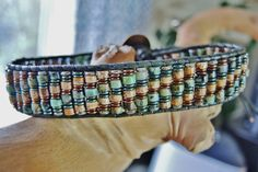 The EARTHY DUDE Men's Hunter Green lead-free Leather Single Wrap Bracelet...Healing and Protective Hematite, Brass Mayan design Button on Etsy, $92.00