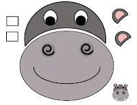 Hippo cut and paste free printable