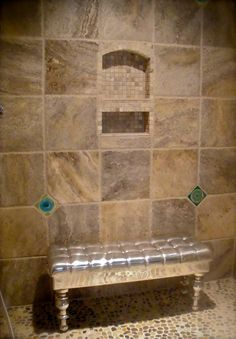 travertine tile shower | ... travertine stone shower features our turquoise crackle glaze disc tile