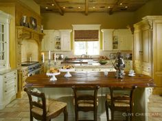 blue cream yellow kitchens | here is the yellow kitchen that made clive christian famous here they ...