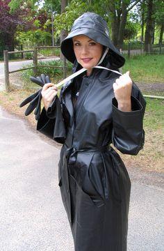 Black PVC Raincoat & Hat
