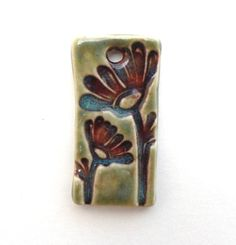 Botanical Floral Flower Design Ceramic Pendant Focal by BluMudd, $7.00