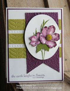 Stamps: Fabulous Florets Inks: Rich Razzleberry, Old Olive Papers: Very Vanilla, Rich Razzleberry, Summer Starfruit Accessories: Big Shot, Lacy Brocade EF, Vine Street EF, Oval Die, Summer Starfruit Dahlia, Dimensionals