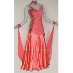 Share me and get 5% off coupon Coral Ballroom Viennese Waltz Dance Wedding Dress