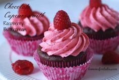 Chocolate Cupcakes with Raspberry Buttercream #chocolates #sweet #yummy #delicious #food #chocolaterecipes #choco #chocolate
