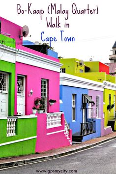While you are in Cape Town don't miss a visit to Bo-Kaap, formerly called the Malay Quarter, a gem of an area nestled on Signal Hill. Living Colors, London Blog, Stone Street, Cape Town South Africa, Countries To Visit, Africa Travel, House Colors, Hostel, Places To Travel